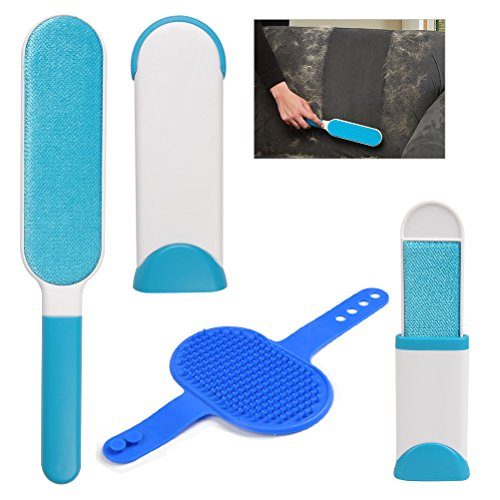 BUYGOO Pet Fur Lint Remover, Double-Sided Brush with Self-Cleaning Base - Removes Pet Hair from Clothes, Furniture (Bonus Travel Size Remover, Bath Comb)