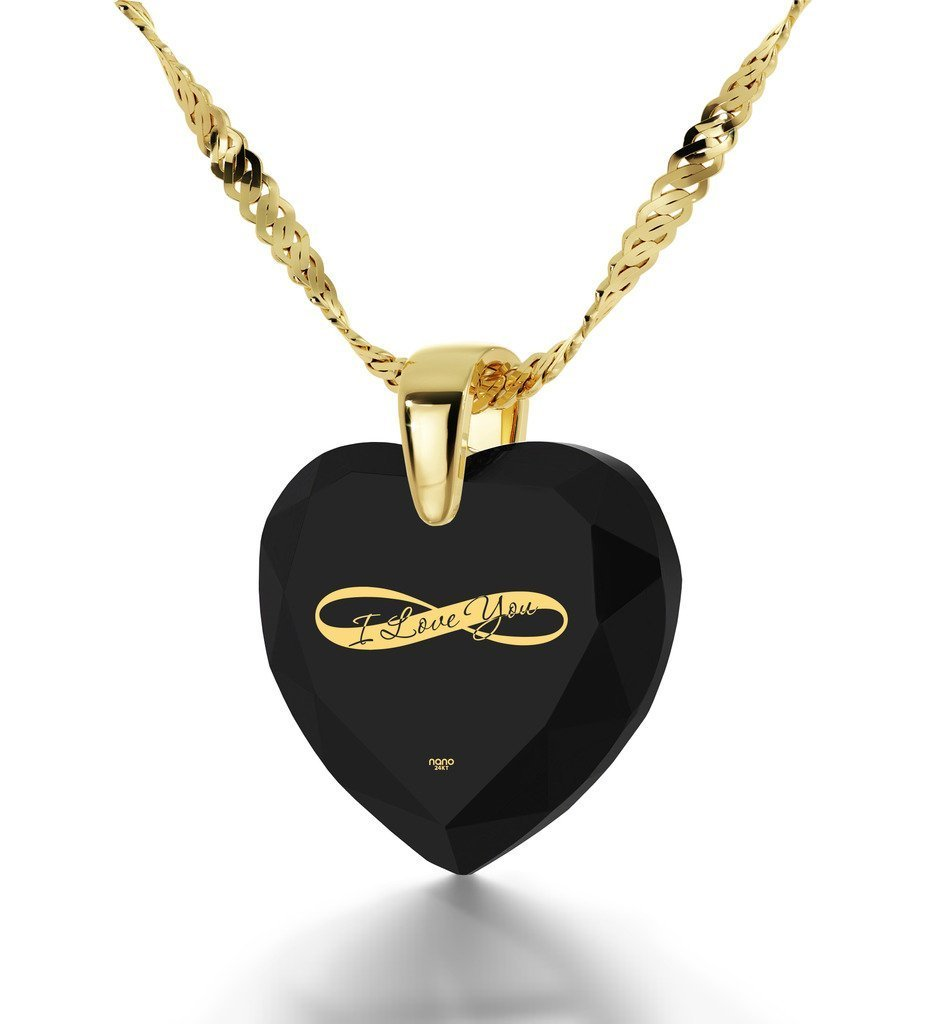 Gold Plated Heart Necklace I Love You Pendant Infinity Symbol 24k Inscribed on Clear Cubic Zirconia, 18''
