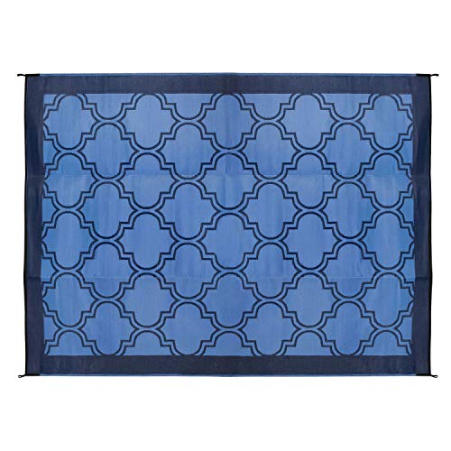 Laid Out Beach Towel - Camco Large Reversible Outdoor Patio Mat - Mold and Mildew Resistant, Easy to Clean, Perfect for Picnics, Cookouts, Camping, and The Beach (9' x 12', Lattice Blue Design) (42856)