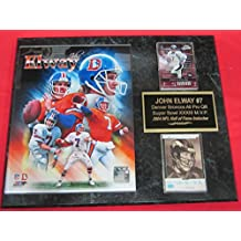 John Elway Denver Broncos 2 Card Collector Plaque w/8x10 Career Composite Photo