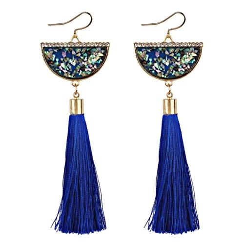 Women Earrings Fashion, Paymenow Clearance Girls Vintage Ethnic Tassel Long Hook Dangle Earrings Bohemian Drop Earrings Eardrop (Blue)