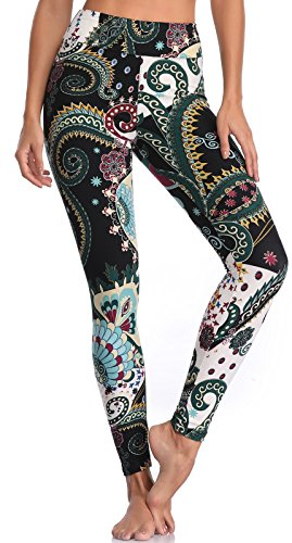 BAILYDEL Women's Ultra Soft Printed Ankle Leggings High Waist Seamless Stretch Pants Size XS-L - Fancy Pants Flower