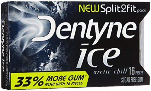 - Dentyne Ice S/F Arctic Chill Gum, Split to Fit, 16 Count (Pack of 9)