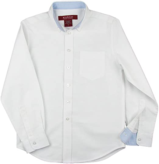 Windstan Boys Long Sleeve Contrast Color Oxford Shirt