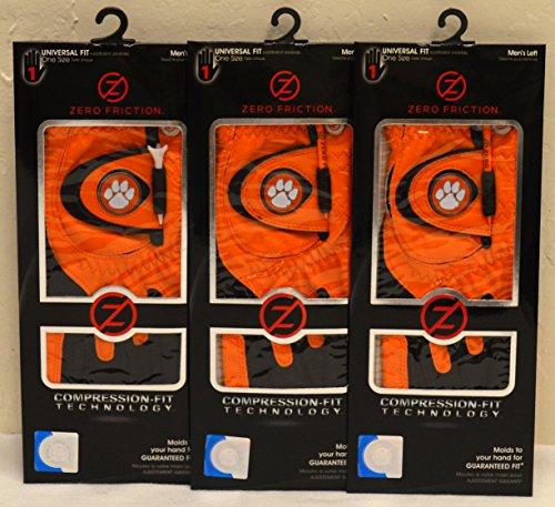 3 Zero Friction Men's Left Hand Universal Golf Gloves - Clemson - Orange by Friction