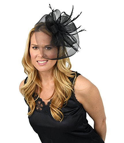 Black And White Mini Rose Top Hat (Home-X Women Fascinator Hat. Black Veil with Rosette and Feathers)