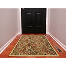 "Ottomanson Ottohome Collection Contemporary Paisley Design Area Rug with Non-Skid (Non-Slip) Rubber Backing, 3'3"" W X 4'7"" L, Beige"