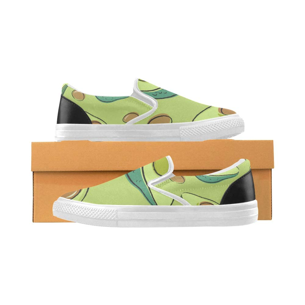 Sneakers for Kids Avocado Pattern Avocado One Cut Canvas Slip-on Casual Printing Comfortable Low Top Canvas Girl Shoes