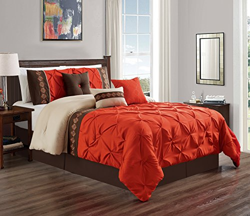 Green Brown Orange - 7 Pieces KING size Orange / Brown Double-Needle Stitch Pinch Pleat All-Season Bedding-Goose Down Alternative Embroidered Comforter Set