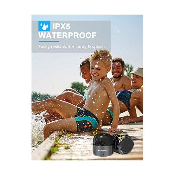 Enceinte Bluetooth Portables, BassPal Petit Haut-Parleur sans Fil avec Radio, Étanche IPX5, HD Stéréo Son et Basses Améliorées, Mini Format de Poche pour Douche de Voyage à Domicile Pool - 2 Pack 7