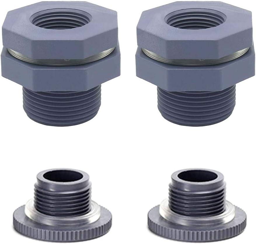 MIKIROY 2PCS 3/4 Inch PVC Rain Barrel Garden Spigot Kit, Bulkhead Fitting Adapter with Plugs for Aquariums, Water Tanks, Tubs, Pools