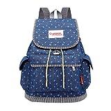 Sameno Draw Buckle Denim Large Capacity Student Bag Casual Backpack