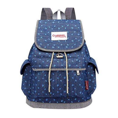 Sameno Draw Buckle Denim Large Capacity Student Bag Casual Backpack by Sameno