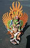 Vishnu riding on YELLOW Garuda handmade wood carving from Bali Indonesia 28 inch size