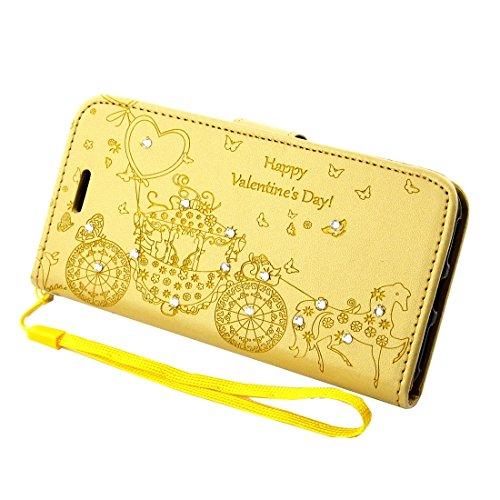 Protege tu iPhone, Para el iPhone 7 Plus Prensado Flor Mariposa patrón de transporte Diamante Encrusted horizontal Flip caja de cuero con titular y ranuras para tarjetas y marco de la carpeta y de la  Oro
