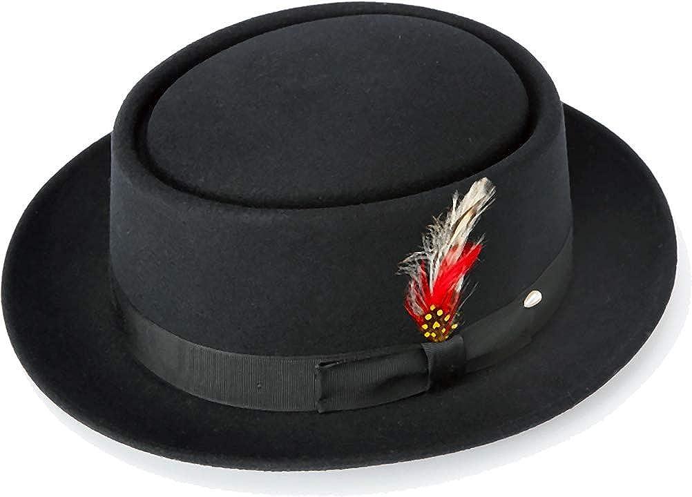 New Mens 100 Wool Black Porkpie Pork Pie Hat At Amazon Men S Clothing Store Fedoras