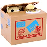 GOTOTOP Stealing Coin Cat Box Kitty Piggy Bank,Cute Short-Haired Kitty Comes Out of The Grape Box and Steals Coins Like Magic Fun Toy,Money Saving Box for Toddler Kids Adults
