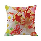 Weiliru Cotton Linen Square Throw Waist Pillow Case Decorative Cushion Cover Pillowcase Happy Easter Sofa Bed Home Decoration