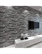 baporee Steen-behang van baksteen-3D gestapeld moderne wandbekleding PVC-rollen behang bakstenen muur achtergrond behang grijs voor woonkamer 5,3 m² donkergrijs