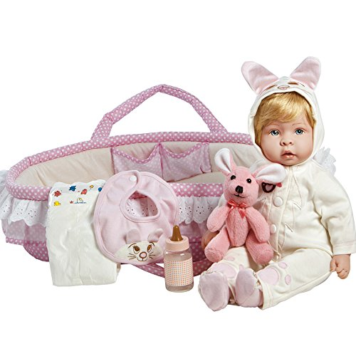 - Paradise Galleries Real Life Reborn Baby Doll Molly & Fluffy, 9-Piece Gift Set, 17 inch Doll in GentleTouch Vinyl & Weighted Body,