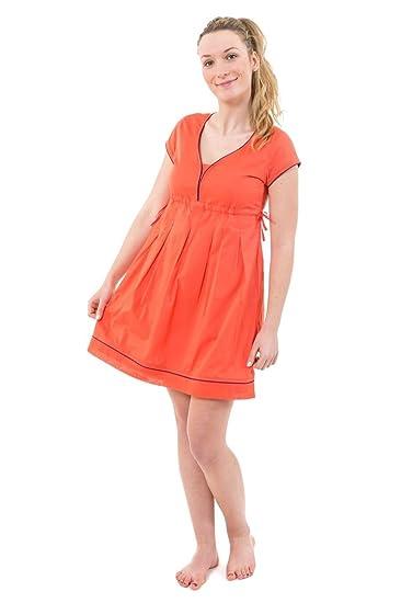 V Decollete Vestido Corto Diseño étnico Color Rosa Coral