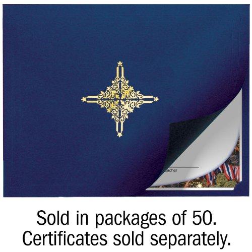 Navy Linen Folder with Gold Star - Set of 50