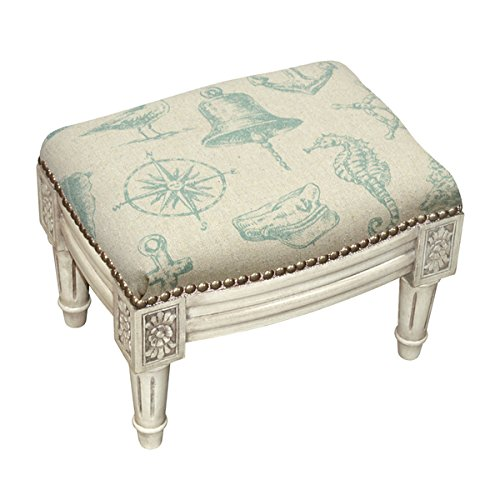 Blue/White Linen Nautical Footstool with Antique White Finish and Nail Heads by Generic (Image #1)