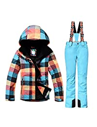 Women High Waterproof Windproof Technology Colorful Printed Ski Jacket and Pants