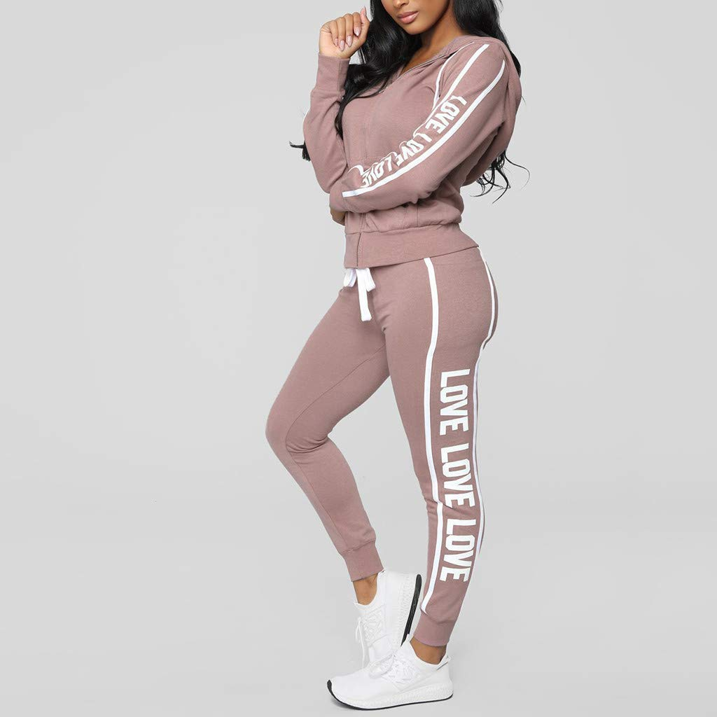 Fashion Women Casual Stripe Zipper Long Sleeve Pullover Sleeves Sport Tops+Long Tracksuit Sweatshirt Hoodies Pants Set by iLUGU (Image #1)