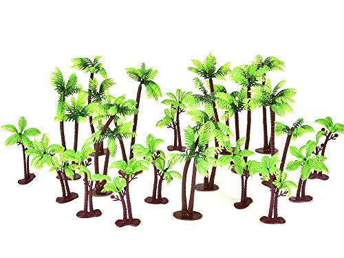 20 Pack Palm Tree Cake Topper for Cake Decoration - Buytra Green Palm Tree with Coconuts Cupcake Topper for Beach, Tropical, Jungle, Hawaiian Cake Decorating, 5.5 Inch and 3.15 Inch