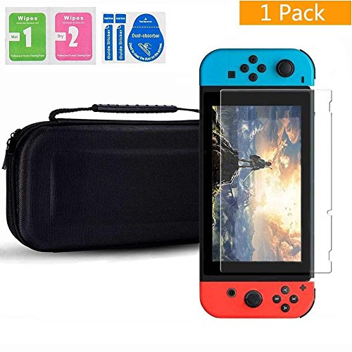 - Case for Nintendo Switch,Tempered Glass Screen Protector Protective Hard Portable Travel Carry Case Shell Pouch for Nintendo Switch Console & Accessories(Black/Red)