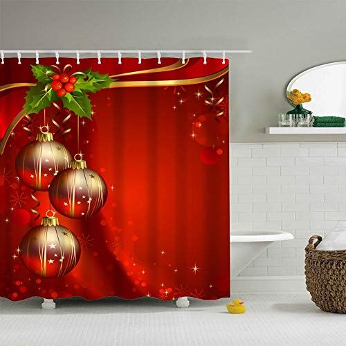 Messagee Christmas Red Background Festival Balls Shower Curtain 72x72, Inches 100% Waterproof Polyester Fabric Bathroom Curtain,Shower Rings Included