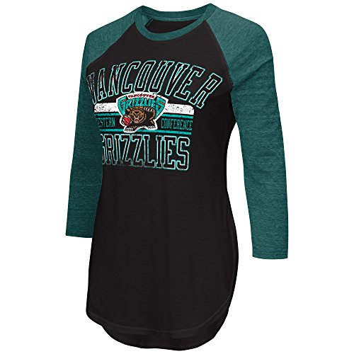 NBA Memphis Grizzlies Women's Hang Time 3/4 Sleeve Tee, Large, Black/Aqua