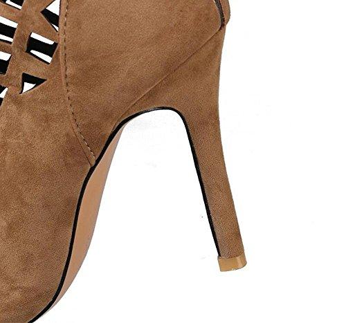 Beauqueen Suede bombas sobre rodilla botas altas Slouch Gladiator hueco pío-dedo del pie estilete sandalias de cremallera de verano de alto talón de tamaño personalizado de Europa 32-46 Black