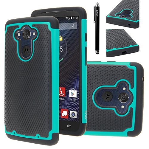 Droid Turbo Case, Moto Droid Turbo Case, E LV Droid Turbo Case Cover - Dual Layer Hybrid Armor Defender Protective Case Cover for Motorola Moto Droid Turbo XT 1254 with 1 Stylus - TEAL - Motorola Droid Turbo Tech Armor