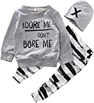 Baby Boy Girl 3pcs Set Outfit Word Print Hoodies Top+Retro Striped Pants+Hat