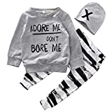 Baby Boy Girl 3pcs Set Outfit Word Print Hoodies Top+Retro Striped Pants+Hat (18-24months, Grey) offers