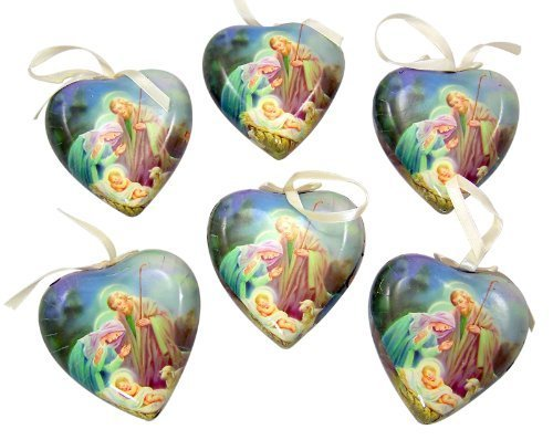 Set of 6 Sleep in Heavenly Peace Decoupage Christmas Ornament -