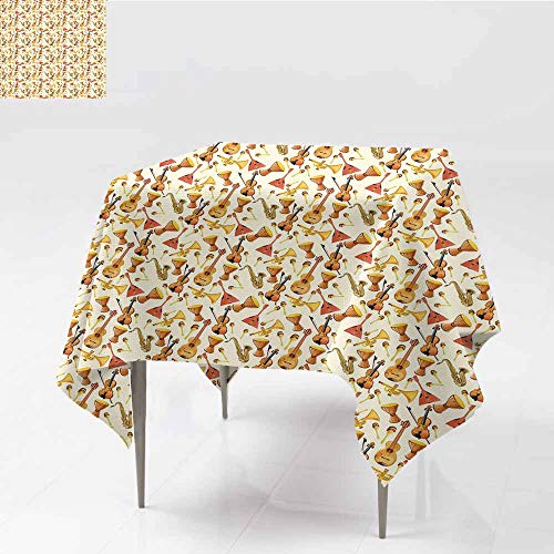 Diycon Restaurant Tablecloth Jazz Music Pattern with Horn Drum Guitar and Fiddlestick Folk Music Ensemble Instruments Multicolor Indoor Outdoor Camping Picnic W70 xL82]()