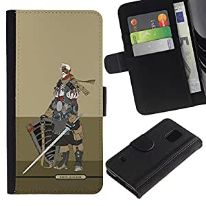 iKiki Tech / Cartera Funda Carcasa - Knight Warrior Beige Armor Sword - Samsung Galaxy S5 V SM-G900
