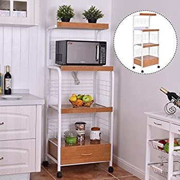 "Amazon.com : New 62"" Bakers Rack Microwave Stand Rolling"