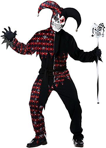 Jester Halloween Costumes Adults (California Costumes Men's Sinister Jester Mardi Gras Carnival Costumes, Black/Red,)
