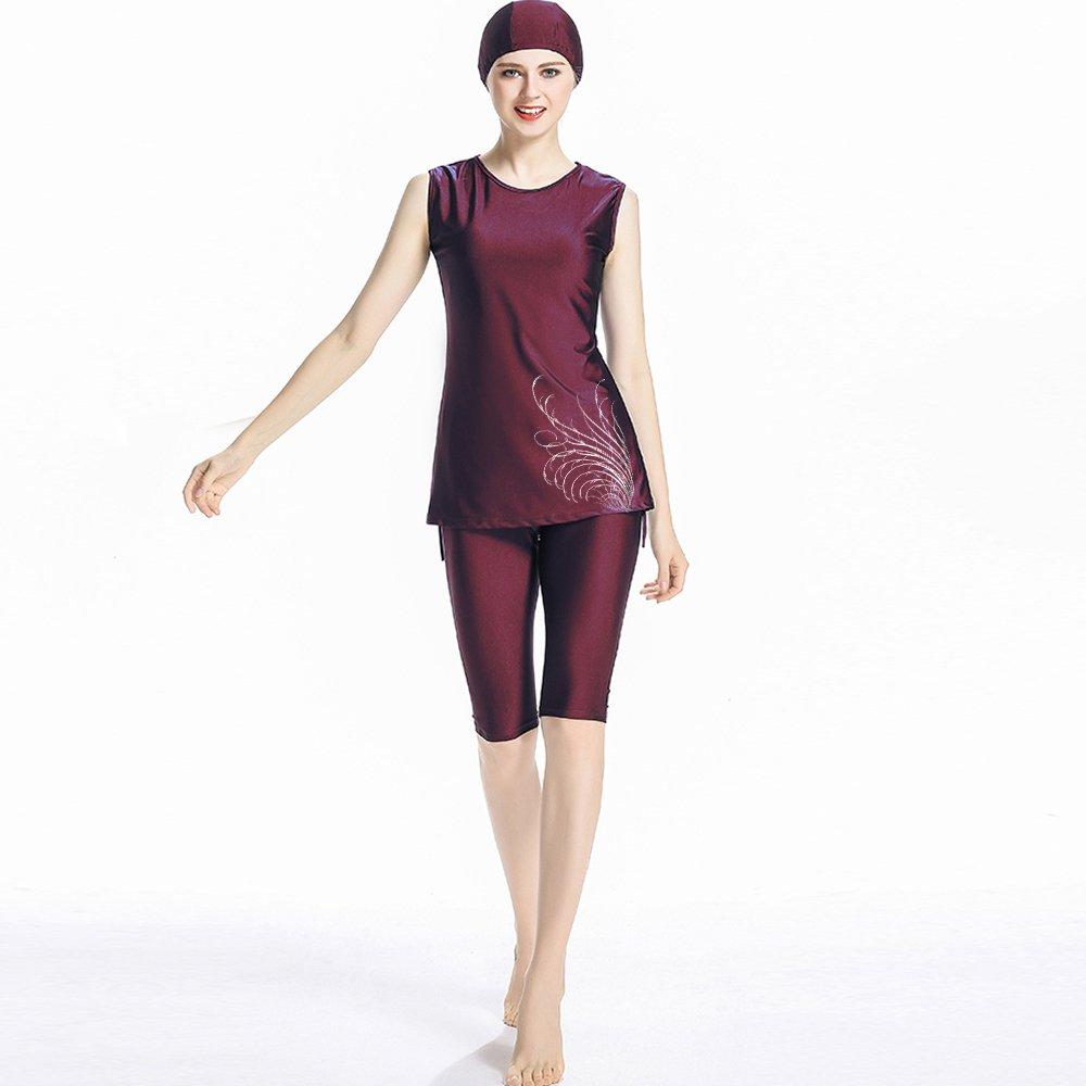 CaptainSwim Women Muslim Swimwear Girls Swimsuit Burqini Islamic Sleeveless Swimwear Ladies Beachwear Burkini