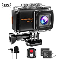 Apexcam Pro 4K WiFi Action Camera,20MP EIS Waterproof Sports Camera 40M Ultra HD Underwater Camcorders External Microphone 170°Wide-Angle 2.0''LCD 2.4G Remote 2 Batteries and Accessories