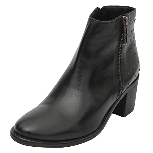 Salt N Pepper Black Real Leather Women's Zip Up Boots Women's Boots at amazon