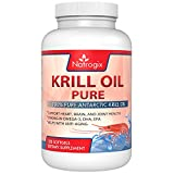 (120 Softgels) Pure Krill Oil 1000mg/Serving by Natrogix - Third-party Tested - Rich Omega 3 Fatty Acids, EPA/DHA, Including Phospholipids and Astaxanthin (No Fishy Smell or Aftertaste)