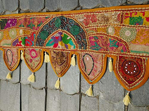 Door Decor Curtain Colourful Embroidered Tapestry Colorful Wall Hanging Hippie Boho Ethnic Festival Toran 80X11 inch Handmade Toran