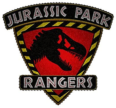 """Jurassic Park 3"""" Rangers Shield Red T-Rex Embroidered Iron On/Sewn On Patch with Gift Bag from Superheroes"""