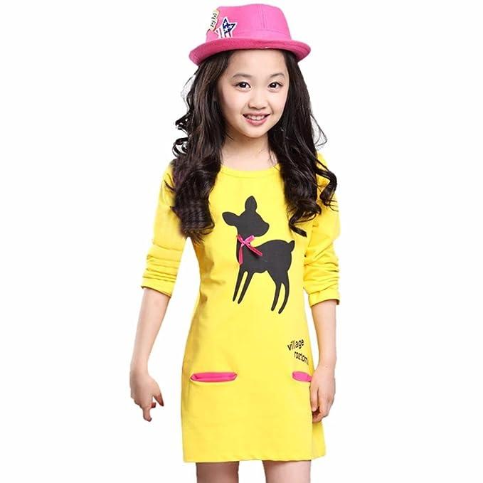 Vestidos Niña, ASHOP Vestido de Niñas Boda Fiesta de Princesa en Oferta Casual Bolsillo de