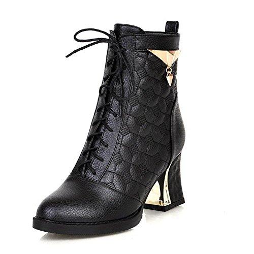 XIAOGANG H HCuatro Estaciones Mujeres (Blanco, Negro, Plata) Franja frontal áspera con botas de metal Desgaste de goma antideslizante, Black, 38
